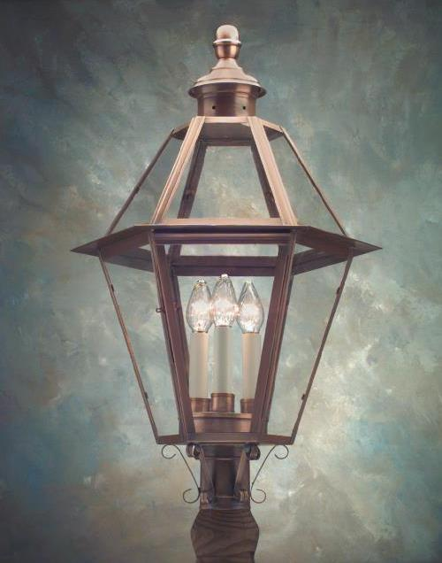 Hammerworks Colonial Style Post Lighting P105 Handcrafted In Solid Copper With Antique Finish