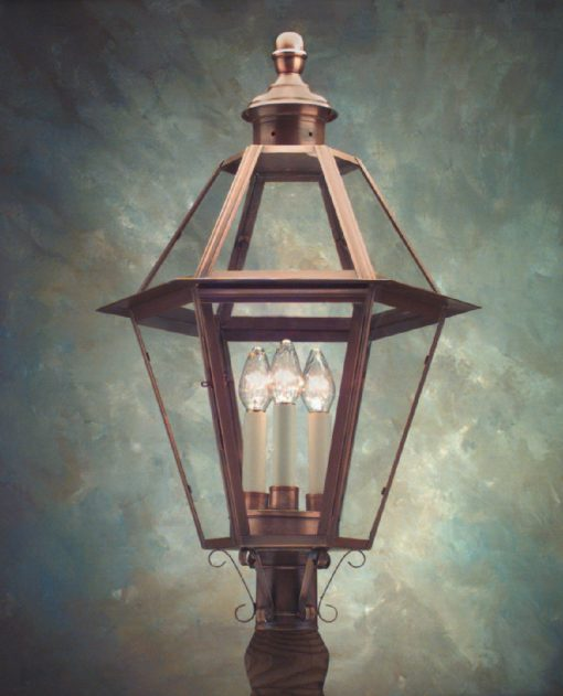 Copper Outdoor Post Lanterns P105 Is Hand Made in USA
