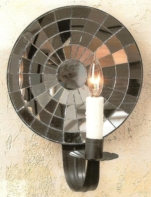 Colonial Cut Mirrored Tin Wall Sconce M1
