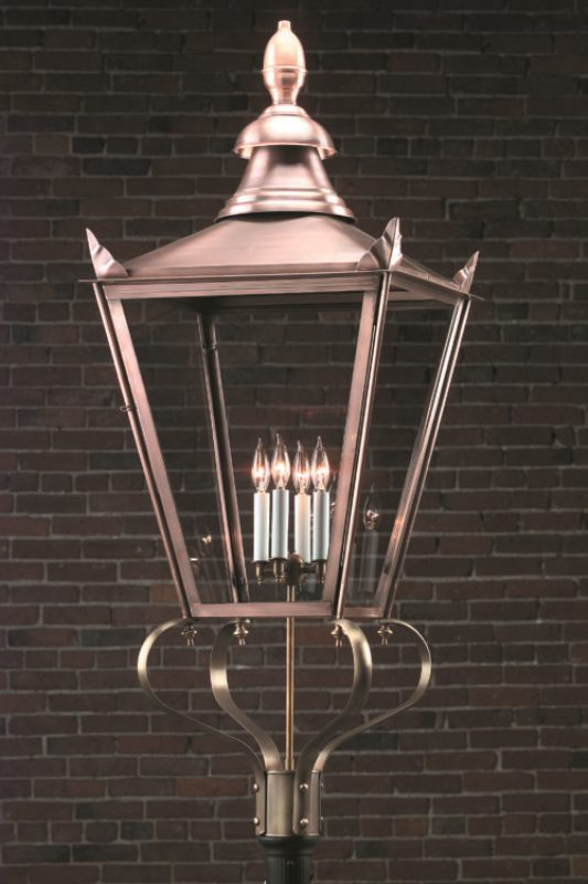 Hammerworks English Street Post Lantern 920P Handcrafted In Solid Antique Copper