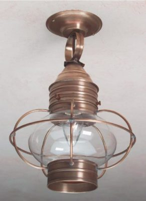 Hammerworks Colonial Onion Ceiling Lanterns: OCL108 Shown Handcrafted In Solid Antique Brass