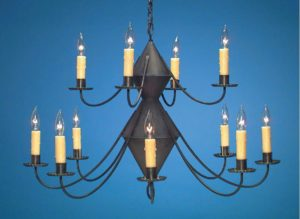 Hammerworks Reproduction Colonial Tin Chandeliers: Handmade In 2 Tier With Antique Finish - Ch201