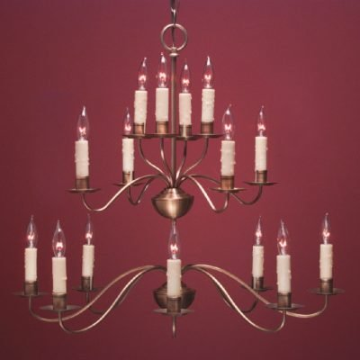 Rustic French Country Style Chandeliers: FCCH502 3 Tier Shown in Antique Brass