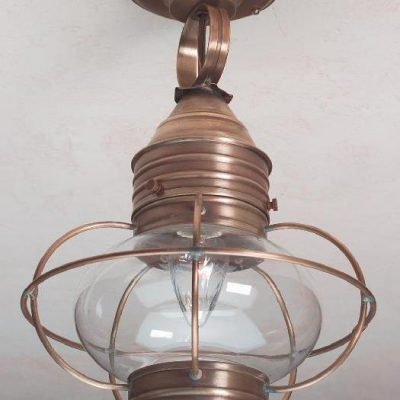 Hammerworks Colonial Ceiling Onion Lights: OCL108 Shown In Antique Brass