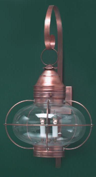 Hammerworks Copper Onion Wall Light OL12 Is Handcrafted In Antique Copper