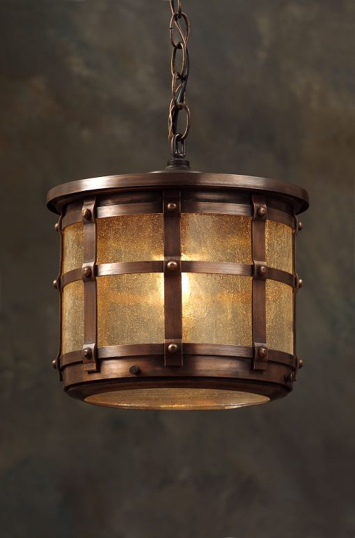 English Tudor Hanging Light Fixture OWH1 Handcrafted With Solid Antique Copper