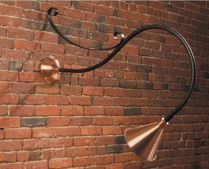 Hammerworks Gooseneck Sign Lighting SL501 Shown In Antique Copper With Black Arm And Scroll Bracket