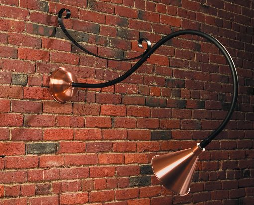 Gooseneck Sign Lighting SL501 Shown In Antique Copper With Black Arm And Scroll Bracket
