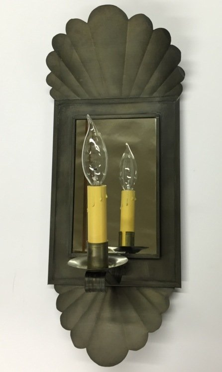 Antique Tin Williamsburg Style Mirrored Wall Sconce S141