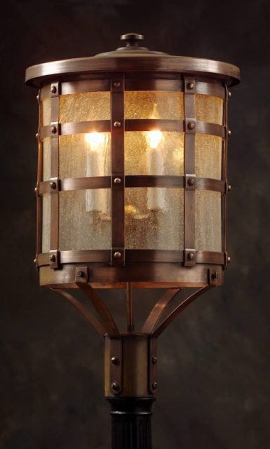Old Tudor Style Solid Copper Post Lantern OWP1