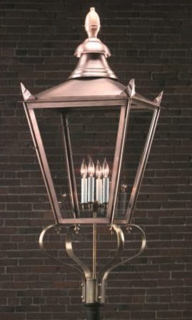 Hammerworks Olde English Tudor Lighting: Post Lantern 920P Handcrafted In Solid Antique Copper
