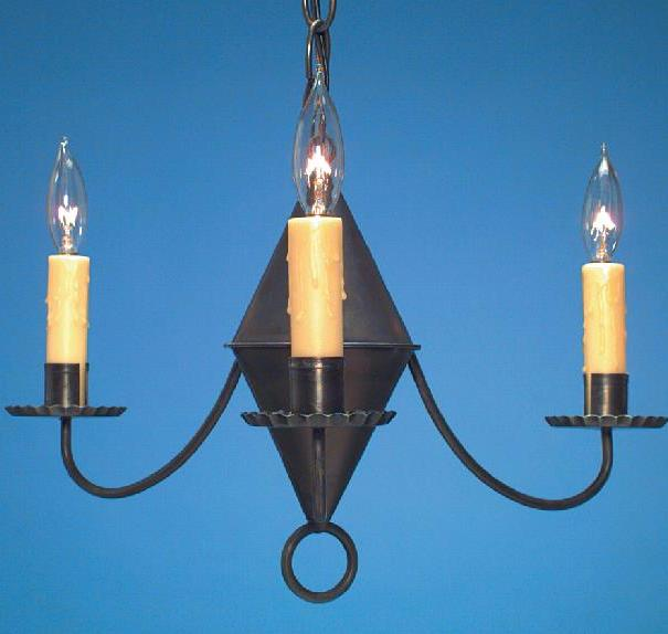Hammerworks Small Colonial Chandelier CH103A Handmade In Antique Tin Finish