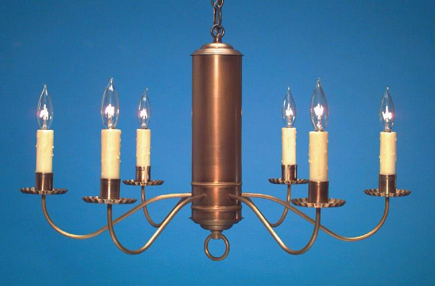 Hammerworks 18th Century Reproduction Chandelier CH106 Handcrafted In Solid Antique Brass With Six Lights