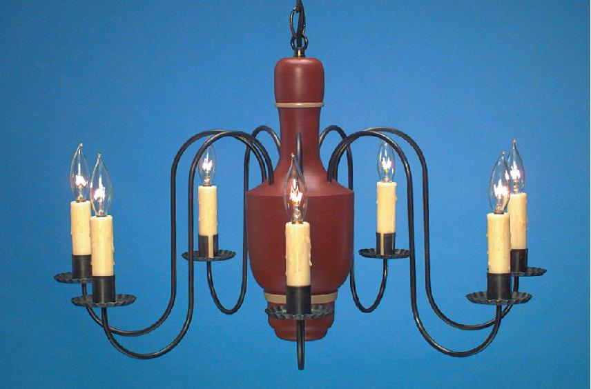 Hammerworks Country Wood Chandelier CH110 Shown In Richardson Red With Ivory Trim