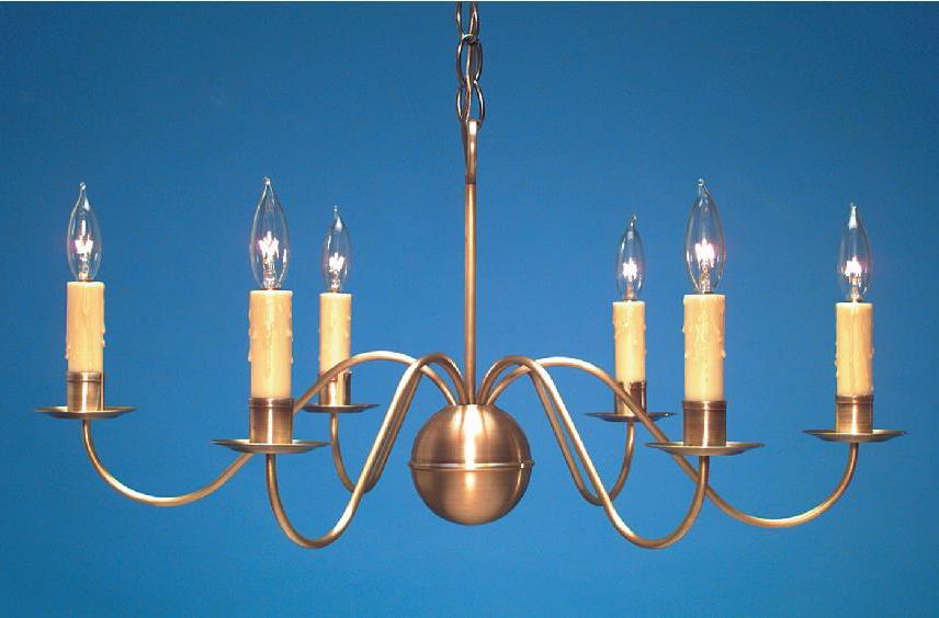 Hammerworks Antique Brass Chandelier CH116 Shown Handcrafted With Six Lights And Solid Brass