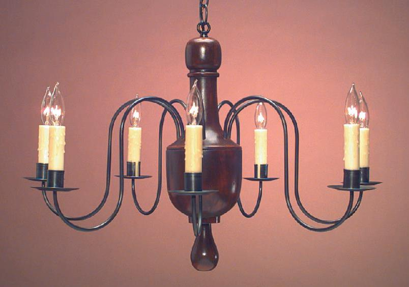 Hammerworks Early American Reproduction Wooden Chandelier CH123 Handcrafted