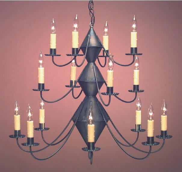 Hammerworks Early American Tin Chandelier CH303 Handcrafted In Antique Finish