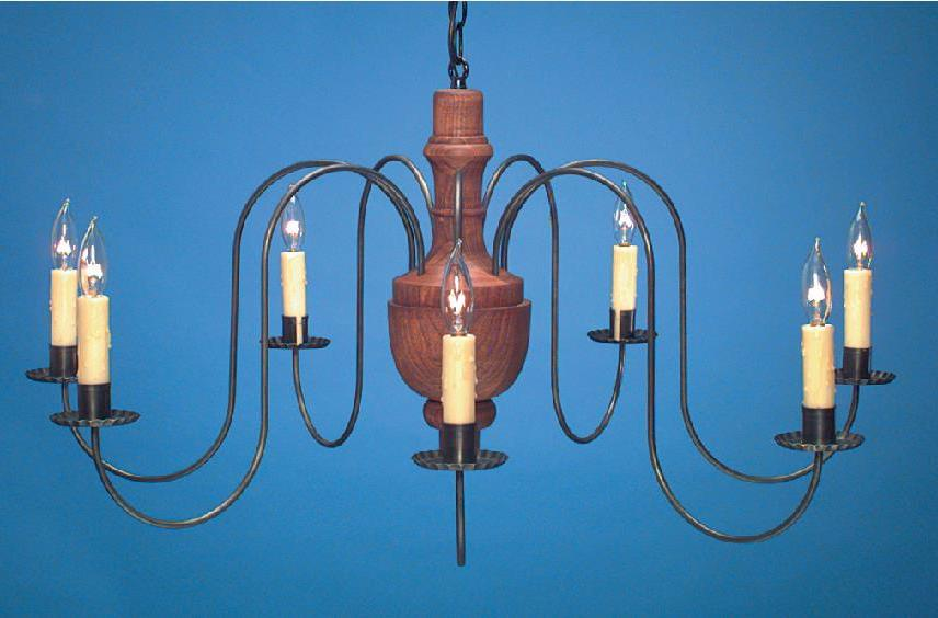 Antique Reproduction Wooden Chandelier: Hammerworks Model CH321