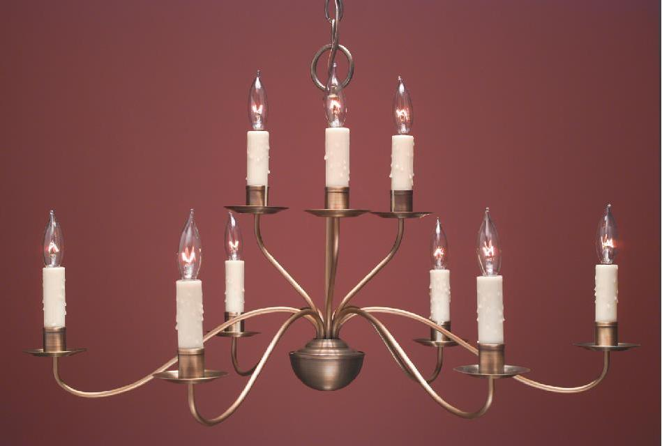 Hammerworks French Country Style Chandeliers FCCH504 Shown In Antique Brass