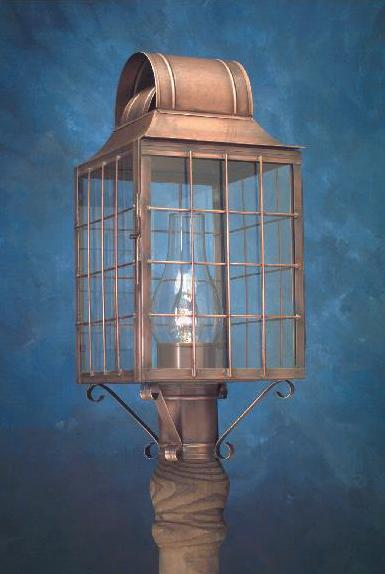Hammerworks Cape Cod Style Post Lantern P110 Handcrafted In Solid Antique Copper