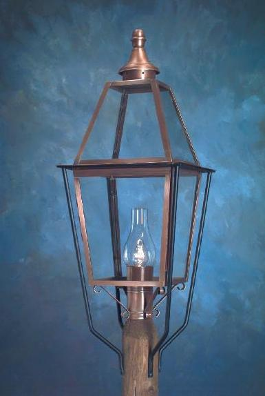 Hammerworks Colonial Style Post Lanterns Handmade With Solid Antique Copper: Model P111