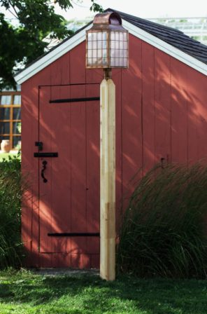 """Cedar Wood Lamp Post - 5"""" x 5"""" Square With Chamfered Edges"""