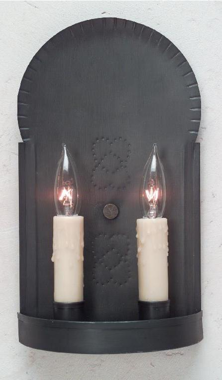Hammerworks Vintage Colonial Tin Sconce S128 Handcrafted In Antique Finish