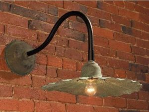 Fluted Shade Sign Light SL503S Shown In Verde Finish With Black Arm