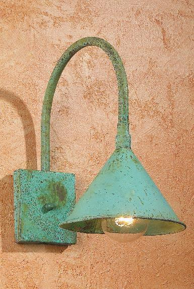 Hammerworks Gooseneck Doorway Lighting SLS508 Handmade In Solid Copper With Verdigris Finish