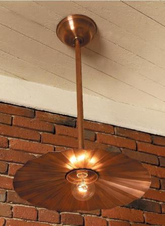 Hammerworks Pendant Fluted Shade Light SLS509 Shown In Solid Copper
