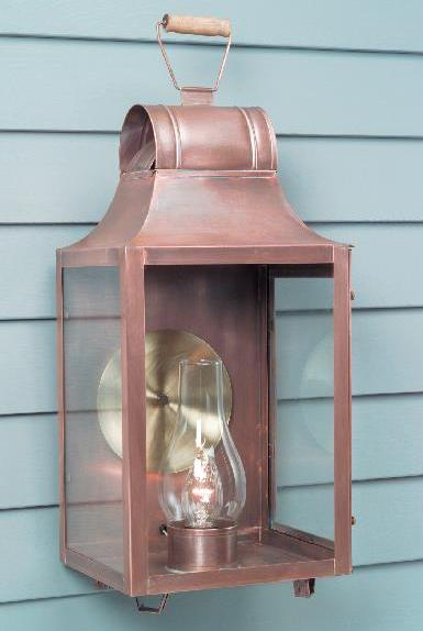 Hammerworks Colonial Wall Lanterns: Barn Lantern W102 Handcrafted With Solid Copper In Antique Finish