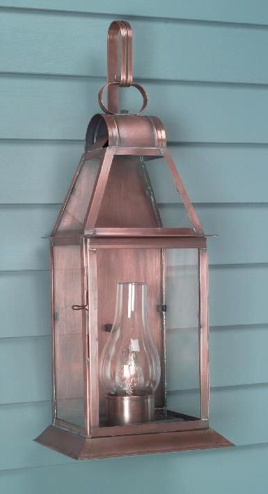 Hammerworks Reproduction Wall Lanterns: W107 Handmade With Solid Antique Copper